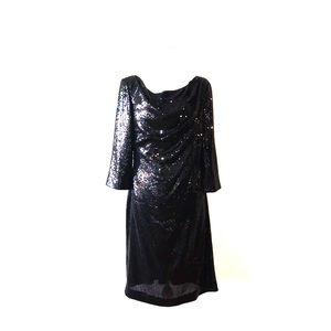 Ann Klein New York Sequined Cocktail Dress LBD (8)